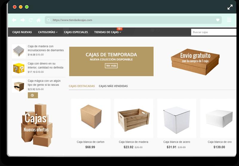 mockup tienda online de cajas