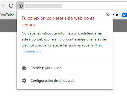 SSL sitio web no seguro