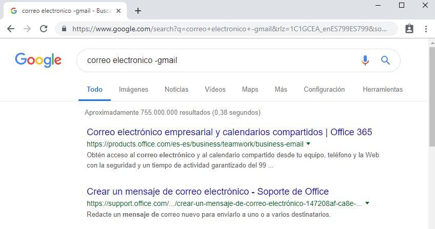 busqueda correo electronico sin que aparezca gmail