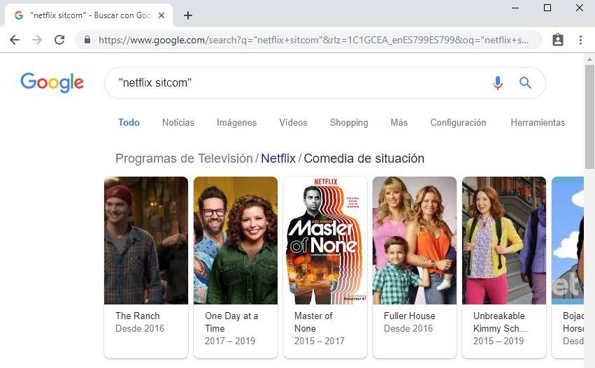 Busqueda de Netflix sitcom